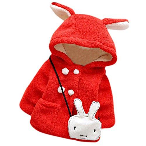 Zolimx Vestiti del bambino ragazze di inverno caldo spesso con cappuccio del cappotto del rivestimento (100, Rosso) - Partito Con Cappuccio