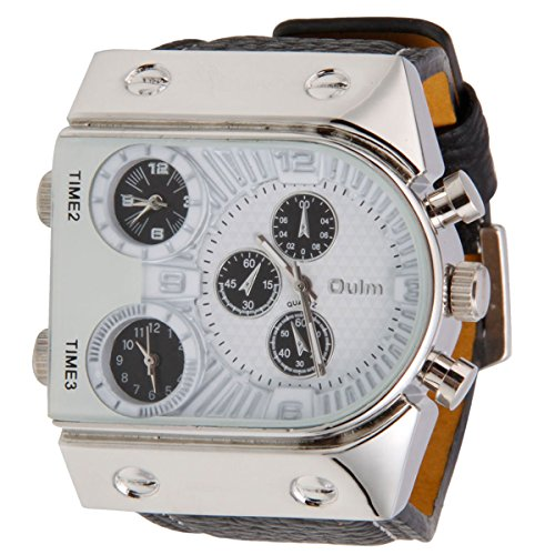 Oulm Man'S Fashion Wrist Watch With Leather Watchband Stainless Steel Dial (White)