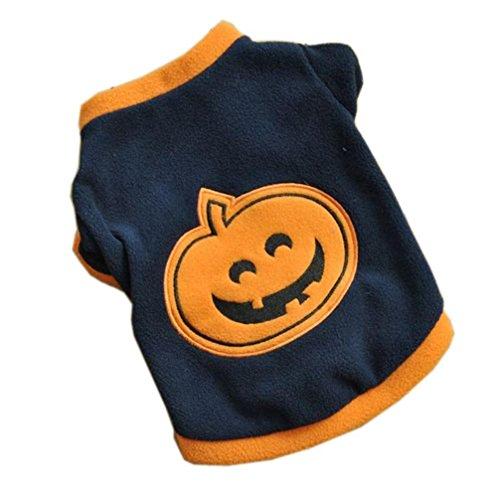 [Kwok Dog Puppy T-Shirts Fleece Warm Clothes Cute Halloween Pumpkin (M)] (Easy But Cute Halloween Treats)
