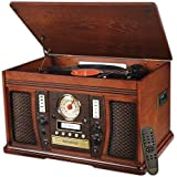 Innovative Technology ITVS-750B Nostalgic Aviator 7-in-1 Turntable Wooden Entertainment Center with Bluetooth, Mahogany