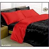 Parue de lit satin rouge / noire réversible 6 pcs housse de couette 220 x 260 cm drap 180 cm