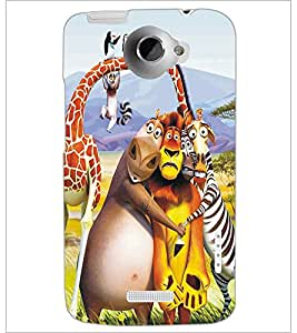 PrintDhaba Animated Animals D-5347 Back Case Cover for HTC ONE X (Multi-Coloured)