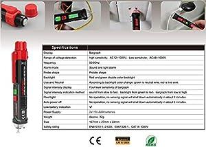 OuTera Non-Contact Voltage Tester with Adjustable Sensitivity, LCD Display, LED Flashlight, Buzzer Alarm, Dual Range 12V-1000V/48V-1000V & Live/Null W