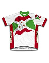 Burundi Flag Short Sleeve Cycling Jersey for Women
