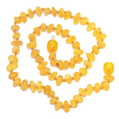 Raw Hand Made Baltic Amber Teething Necklace for Babies - Safety Knotted - Not Polished - 1
