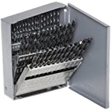 Chicago Latrobe 150 Series High-Speed Steel Jobber Length Drill Bit Set with Metal Case, Black Oxide Finish, 118 Degree Conventional Point, Wire Size, 60-piece, #60 - #1