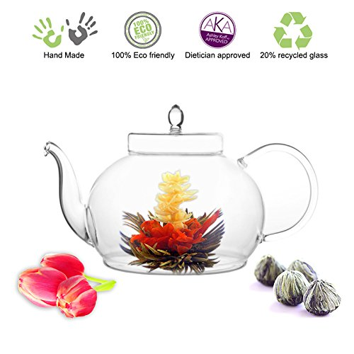 Purchase Blooming Tea Glass Teapot Gourmet Gift Set Polo 45oz/1330ml with Fab Flowering Tea (4 Bloom...