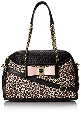 Betsey Johnson Be My Honey Buns Dome Satchel Top Handle Bag,Leopard,One Size