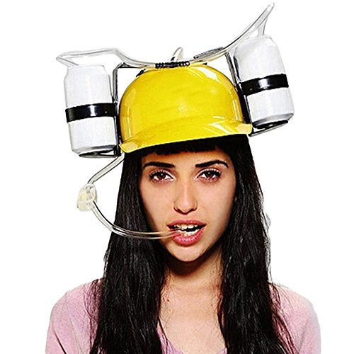 LOHOME® Beer and Soda Coke Cool Helmet Drinking Cap Drinking Hat with Straws Can Holder Toys Games Fun Party Hat (Yellow) (Coke Can Holder compare prices)