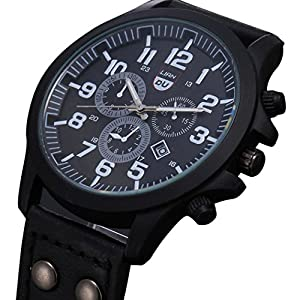 Dreaman Mens Waterproof Date Leather Strap Sport Quartz Army Watch Black