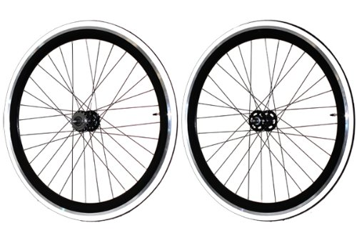 Fixie Freewheel Track Wheel Wheelset Deep V White+Tires CNC Black