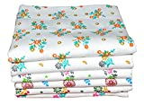 APR BRAND WHITE FLOWER PRINT BATH TOWELS - PACK OF 06
