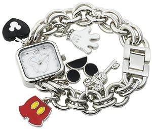Disney Women's MK2059 Mickey Mouse Mother-of-Pearl Dial Charm Bracelet Watch