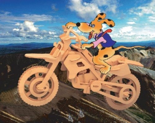 Puzzled Cross Country Motorcycle 3D Natural Wood Puzzle - 1