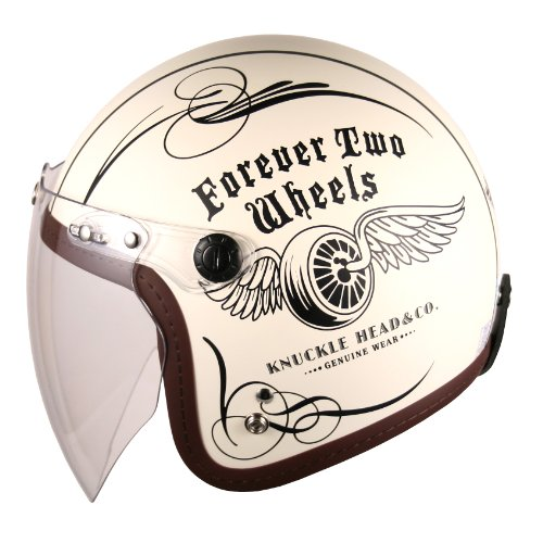 (F4 Jet-include Shield) Motorcycle Scooter Open Face 3/4 Three Quarter Jet Helmet Vintage Retro Style Helmets (White (Two Wheel Decal)) 4