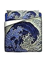 Tele d'autore by MANIFATTURE COTONIERE Edredón Katsushika Hokusai-Feminine Wave (Azul/Multicolor)