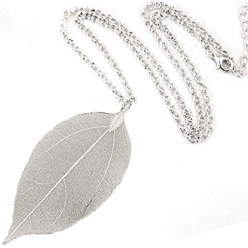 ZSE Jewelry Bohemian Pure Natural Leaf Silver Plated Charm Pendant Long Chain Necklace