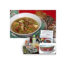 Chinese Hot Sour Soup Cooking Kit with Chinese Bowls and Spoons