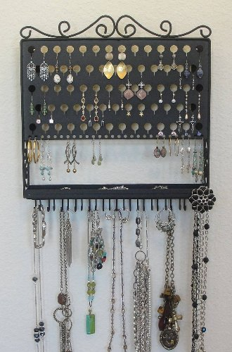 (AAV-Black) Angelynn's Vintage Styled Accessory Angel - Pierced Earring Holder & Jewelry Organizer - Hanging Necklace Storage Rack - Wall Mount Earring Tree Display Stand