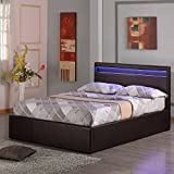 TOKYO LED LIGHT HEADBOARD BROWN 4FT 6IN DOUBLE FAUX LEATHER OTTOMAN STORAGE BED w GAS LIFT BASE