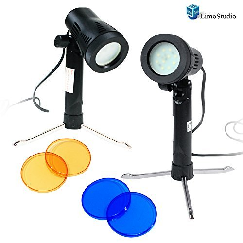 LimoStudio Photography Continuous 600 Lumen LED Light Set for Table Top Studio Portable Lighting Kit with Gel Filters, AGG1501 (Led Tabletop Light compare prices)