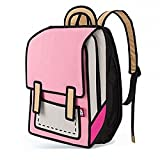 Women Girl Creative Fashion 3D Jump 2D Drawing From Stereoscopic Cartoon Paper Comic Satchel Bookbags Backpack School Outdoor Travel bag (Pink)