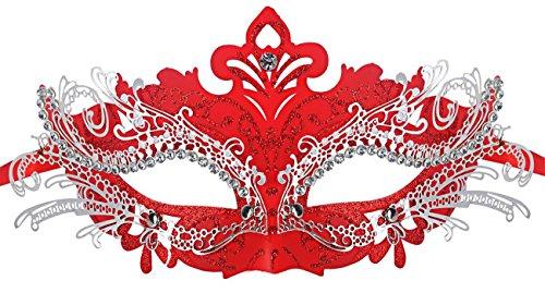 [Masquerade Mask Shiny Metal Rhinestone Venetian Pretty Party Evening Prom Mask] (Red Masquerade Mask)