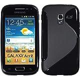 Silikon Hülle Samsung Galaxy Ace 2 - Schwarz - I8160 PhoneNatic TPU Case Silikon Cover Hülle Schutzhülle + Schutzfolie