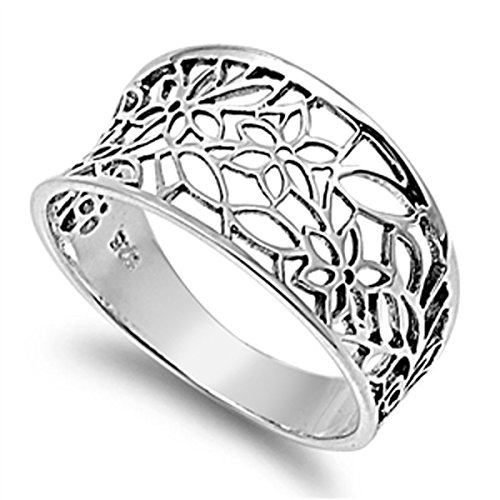 Sterling Silver Women's Vintage Filigree Thumb Flower Leaf Ring (Sizes 3-13) (Ring Size 8) (Thumb Rings compare prices)