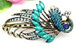 BUYINHOUSE Lovely Vintage Jewelry Crystal Peacock Hair Clips Hairpins C- for hair clip Beauty Tools (BLUE)