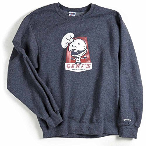 Bygone Brand Men's Geri's Hamburgers Crew Neck Sweatshirt 2XL Blue