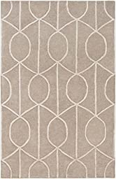 Beige Wool Rug Contemporary Design 5-Foot x 7-Foot 6-Inch Hand-Made Overlapping Rings