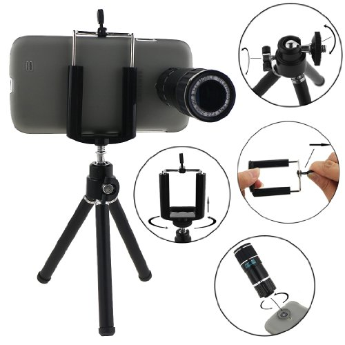 Ancerson 12X Zoom Mobile Telephoto Lens Camera Lens For Samsung Galaxy S4 S Iv Gs4 I9500 + Protective Back Case Cover Shell Skin + Universal Mini Tripod Bracket Holder + Microfiber Cleaning Cloth