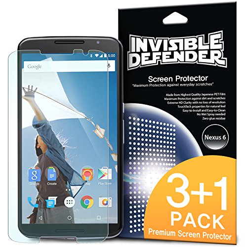 Nexus 6 Screen Protector – Invisible Defender Nexus 6 [3+1 Free/MAX HD CLARITY] Lifetime Warranty Perfect Touch Precision High Definition (HD) Clarity Film (4-Pack) for Google Motorola Nexus 6