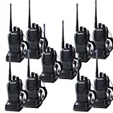 QITAO® 10PCS Galwad-888S Walkie Talkies With Original Earpiece Two Way Radio UHF 400-470MHz Signal Frequency Single Band 16 CH (10 Pack)