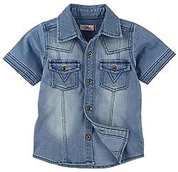 Oye Boys Solid Denim Half Sleeve Shirt - Light Blue (2-3Y)
