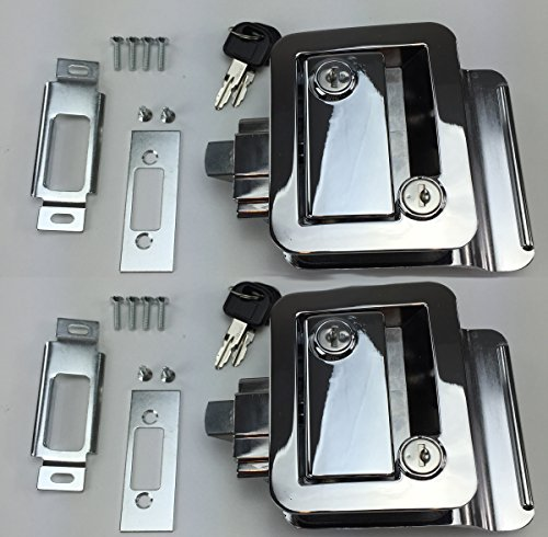 PAIR SET OF 2 NEW RecPro CHROME RV CAMPER TRAILER MOTORHOME PADDLE ENTRY DOOR LOCKS LATCH HANDLE KNOB DEADBOLT WITH MATCHING KEYS !! (Camper Door Entry Lock compare prices)