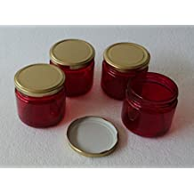 Pure Source India Set Of 4 Pcs Good Quality 150 Gram Capacity Round Glass Jar Red Color With Good Quality Gold...