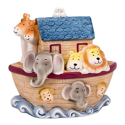 "Children's 6.25"" H Noah's Ark Animal Filled Porcelian Desk Top Night Light"
