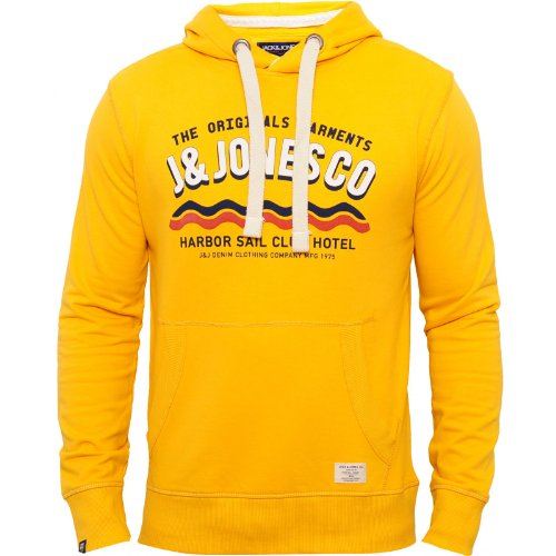 Jack and Jones Mens Yellow Hoody Hersh Drawstring Hood Chest Print Yellow X-Large