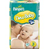 Pampers New Baby Size 2 (6-13 lbs/3-6 kg) Nappies - 2 x Economy Packs of 62 (124 Nappies)by Pampers