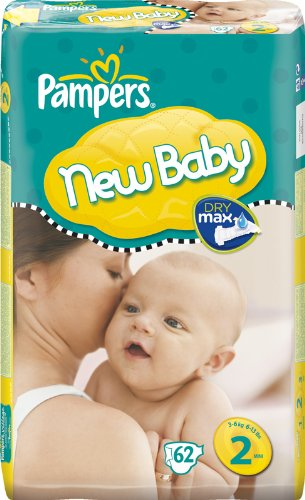 Pampers New Baby Size 2 (6-13 lbs/3-6 kg) Nappies - 2 x Economy Packs of 62 (124 Nappies)