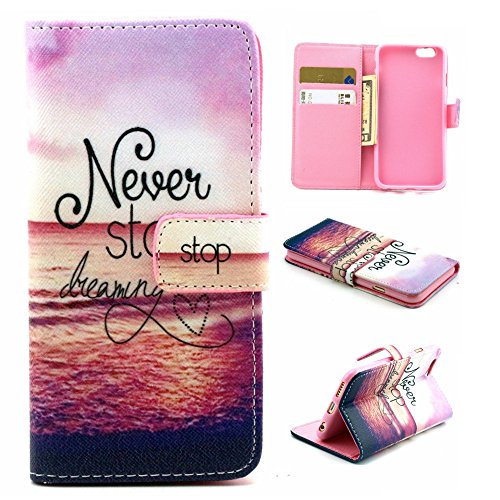 iPhone 6S Plus Case, Sophia Shop Folio Book Style Premium PU Leather Flip Wallet Case Kickstand Feature Shockproof Anti-scratch Cover Built-in Card/Cash Slot For iPhone 6S Plus 5.5inch (Never stop)