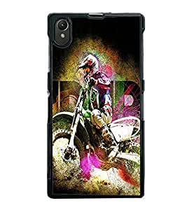 Fuson Premium 2D Back Case Cover Man on bike With Purple Background Degined For Sony Xperia Z1::Sony Xperia Z1 L39h