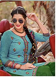 Fashion Bizzare Punjabi Style Printed Firozi Top and Green Bottom Fine Cotton with embroidery on Shirt and fulkari print dupatta Dress Material MY16006