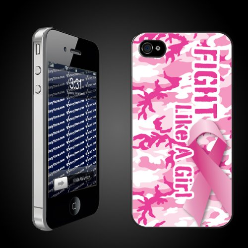 iPhone Hard Case   Fight Like a Girl Pink Camo/Pink Ribbon   CLEAR iPhone Hard Case   Pink Ribbon/Breast Cancer Awareness Protective iPhone 4/iPhone 4S Case
