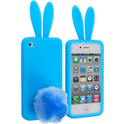 Cell Accessories For Less (Tm) Baby Blue Bunny Silicone Design Soft Skin Case Cover For Apple Iphone 4 / 4S - By Thetargetbuys front-850537