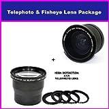 3.6X HD Professional Telephoto Lens & 0.35x HD Super Wide Angle Panoramic Macro Fisheye Lens For Panasonic HDC...