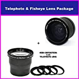 3.6X HD Professional Telephoto lens & 0.35x HD Super Wide Angle Panoramic Macro Fisheye Lens For Panasonic HDC HS20, TM300, HS250, HS300, SD20, & TM20