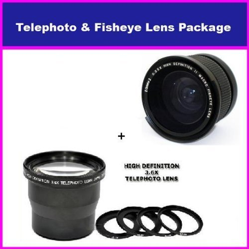 3.5X Hd Professional Telephoto Lens & 0.35X Hd Super Wide Angle Panoramic Macro Fisheye Lens For Canon Vixia Hf S21 S20 S200 Canon Gl1, Gl2, Xm1, Xm2, Vixia Hf S10, Hf S11, Hf S20, Hf S21, Hf S100 & Hf S200